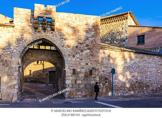 Entrance to the fortified city of Ayllon, Segovia, Castilla y leon, Spain, Europe