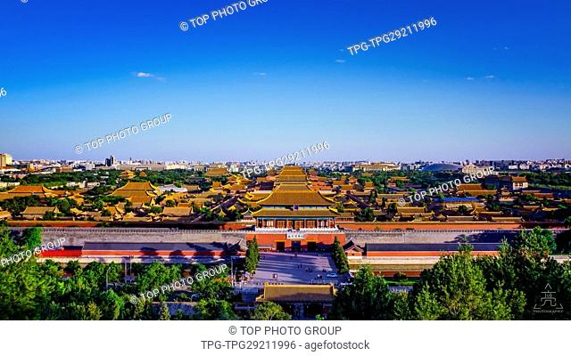 Aerial view of The Forbidden city; Beijing; China