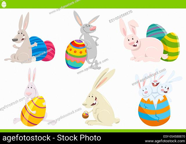 Cartoon Illustration of Funny Easter Bunnies Set on Easter Holiday Time with Colored Eggs