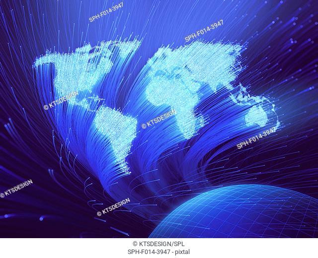 Fibre optic world map, illustration