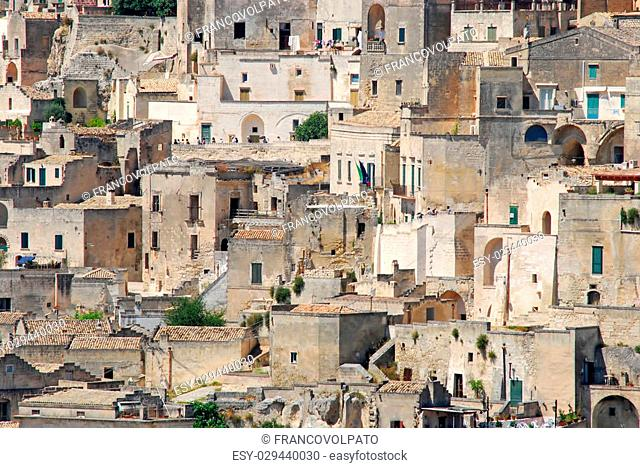 A panoramic view of the city of Matera and the City of Rocks in Basilicata - Italy