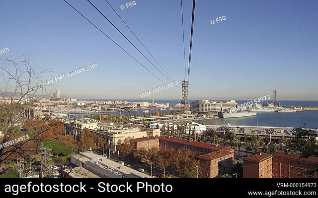 Aerial view of the port of Barcelona, with the Ronda Litoral, the Ferrys terminal and the cable car tower. Barcelona, Spain