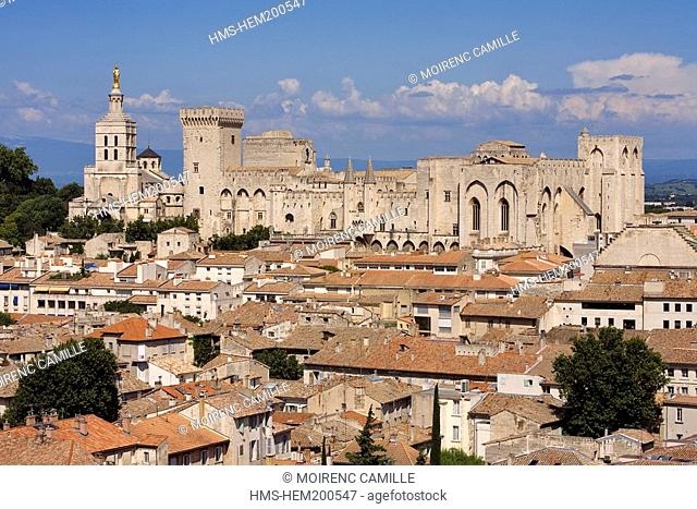 France, Vaucluse, Avignon, the Notre Dame des Doms cathedral and the Palais des Papes, listed as World Heritage by UNESCO