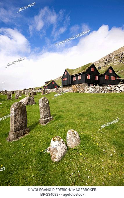 Cemetery, Bishop's Palace, Kirkjubour, Streymoy Island, Faroe Islands, Denmark, North Atlantic, Northern Europe, Europe