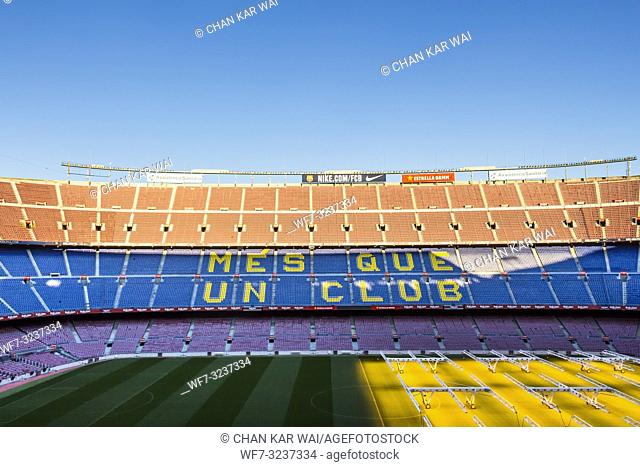 Barcelona - December 2018: Inside Camp Nou - home stadium of FC Barcelona is the largest stadium in Spain and Europe, and the third largest football stadium in...