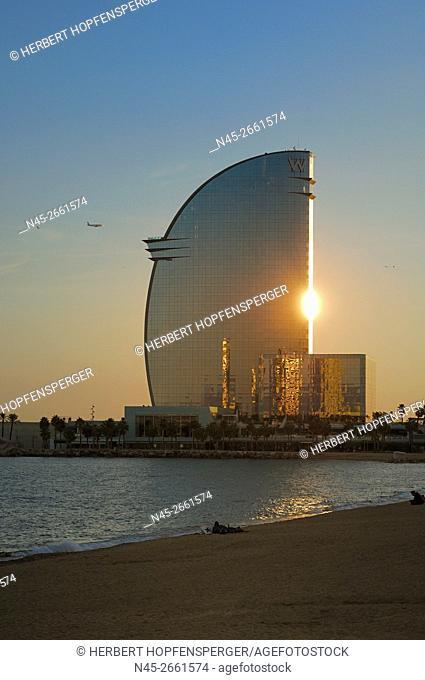 W Barcelona Hotel, by the Architect Ricardo Bofill, on the Seafront in the Barceloneta Aera, Glass Facade, Barcelona, Catalonia, Spain