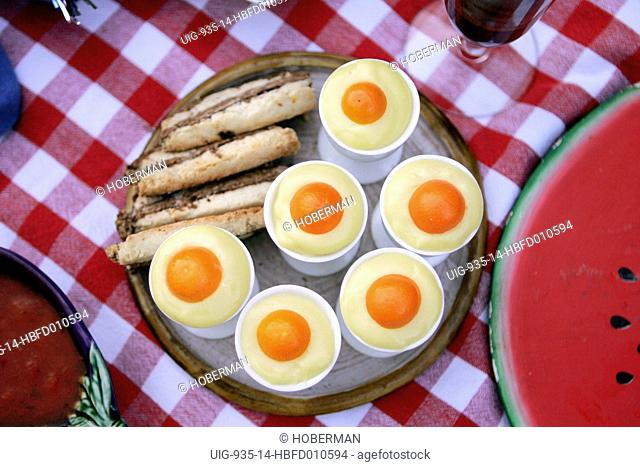 Lemon Mousse Egg and chocolate streaky strips, Napa Valley, California, USA