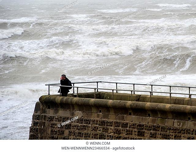People take to the beach as Storm Imogen lashes Brighton Beach with gale force winds. The Met office has issued an amber (be prepared) weather warning and...
