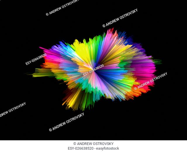 Color Explosion series. Arrangement of colorful streaks on the subject of design, art and imagination