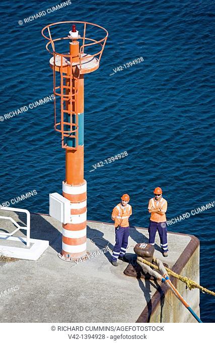 Pier light & port workers, La Coruna City, Galicia, Europe