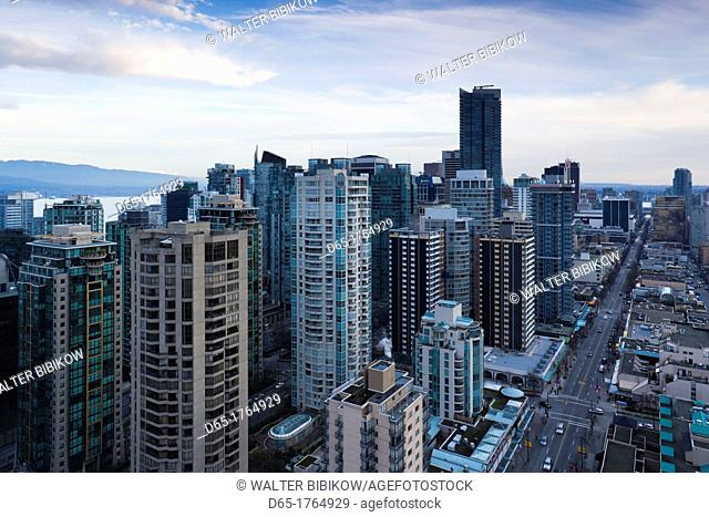 Canada, British Columbia, Vancouver, elevated view West End buildings along Robson Street