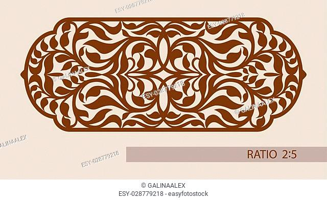 Floral ornament. The template pattern for decorative panel. A picture suitable for printing, engraving, laser cutting paper, wood, metal, stencil manufacturing