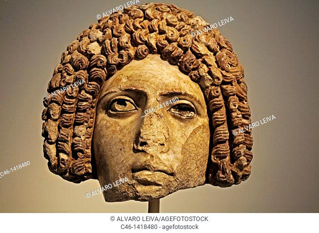 Female portrait head in the form of a mask, pentelic marble, late 1st c A D  , National Archaelogical Museumm Athens  Greece