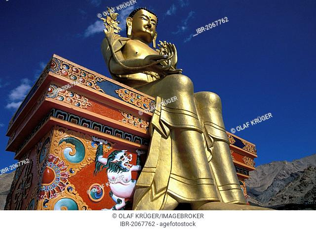 Big Buddha statue coated in gold at the Likir Monastery, Ladakh, Jammu and Kashmir, northern India, India, Asia