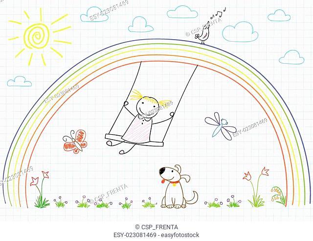Happy girl on swing on rainbow
