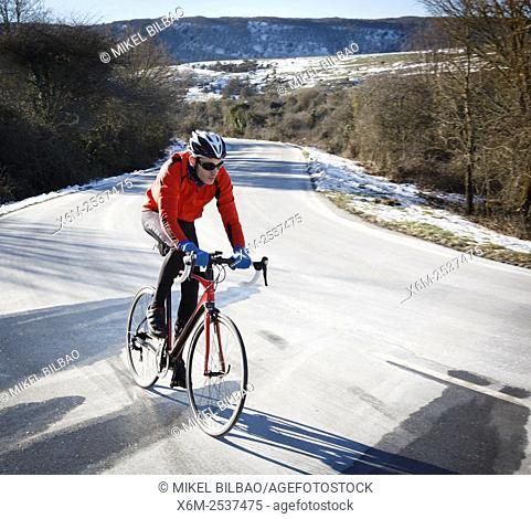 cyclist on a road. Lizarraga pass. Navarre, Spain