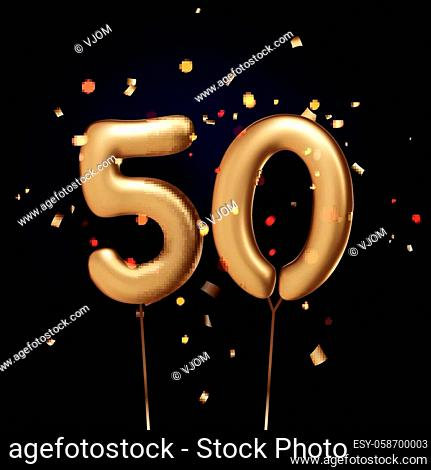 50 sign golden balloons with threads on black background with confetti. Vector festive illustration