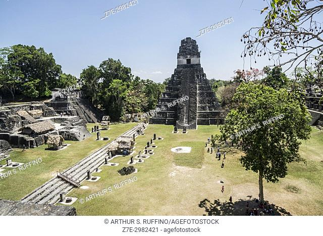 Temple I, Great Jaguar Temple and the Grand Plaza, Tikal, Guatemala, Central America