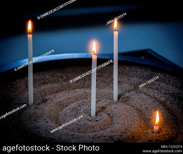 Candle arrangement in a church