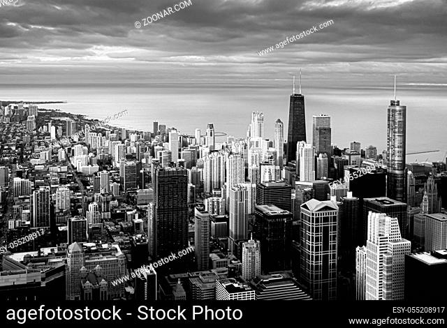 Panoramic black and white view of Chicago during a sunset. Travel destination. Lake Michigan in the background