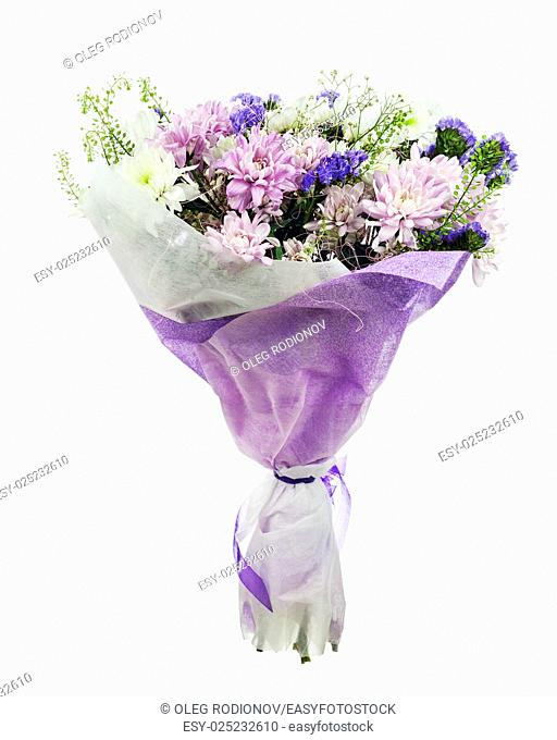 Beautiful bouquet of gerbera, carnations and other flowers in blue package isolated on white background