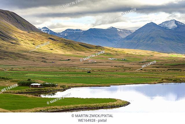 Landscape at Miklavatn, Troellaskagi, near Siglufjoerdur. europe, northern europe, iceland, september
