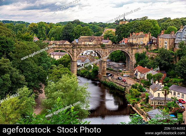 Knaresborough, North Yorkshire, England, UK - September 09, 2016: View from the Castle Grounds towards the River Nidd and the Knaresborough Viaduct