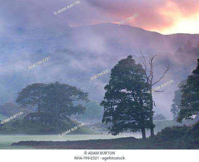 Atmospheric misty sunset near Elterwater, Lake District National Park, Cumbria, England, United Kingdom, Europe