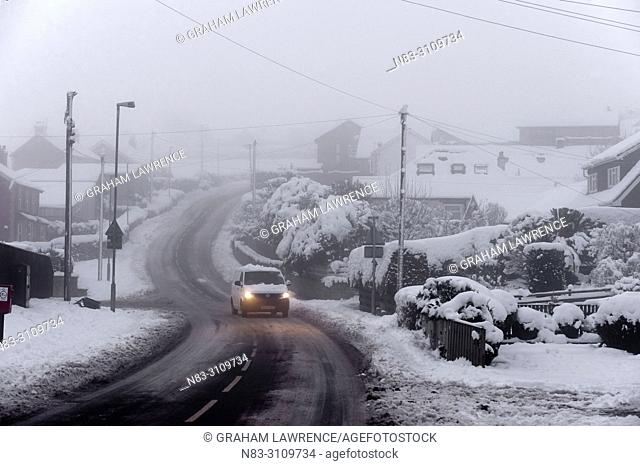 A wintry landscape at Builth Wells, Powys, Wales, UK