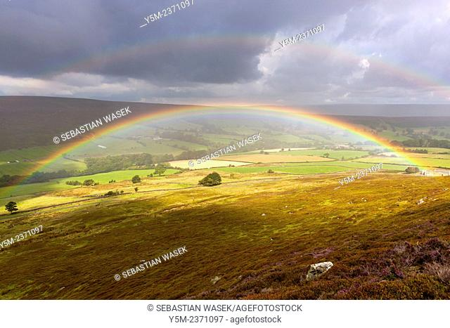 Rain over moors near Westerdale, North York Moors National Park, North Yorkshire, England, United Kingdom, Europe