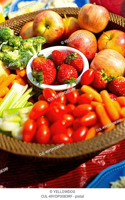 Close up of basket of produce