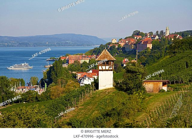 View over Meersburg at Lake Ueberlingen, Bodensee, Baden-Wuerttemberg, Germany, Europe