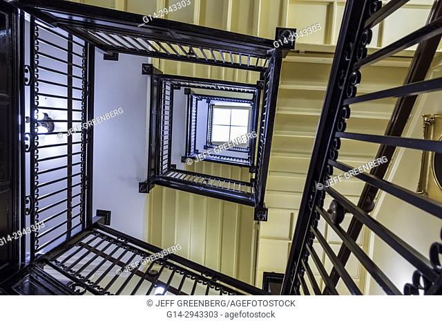 Virginia, Richmond, Virginia State Capitol Building, National Historic Landmark, stairs, staircase, looking up, railing, interior