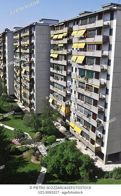 Turin, Italy: huge apartment buildings built in the Seventies during the boom of FIAT industry, along Corso Unione Sovietica