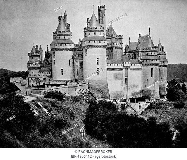 Early autotype of Chateau Pierrefonds palace, Pierrefonds, Département Oise, France, 1880
