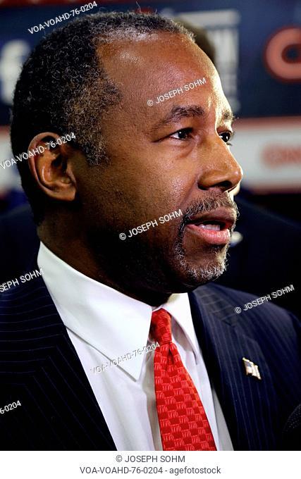 LAS VEGAS, NV, DEC.15, 2015, closeup profile of Dr. Ben Carson, retired neurosurgeon and 2016 Republican presidential candidate