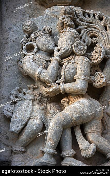 Carved idol on the outer wall of Shantinatha Basadi, a Jain temple dedicated to the sixteenth Tirthankar Shantinatha, near Shravanabelagola, Karnataka, India
