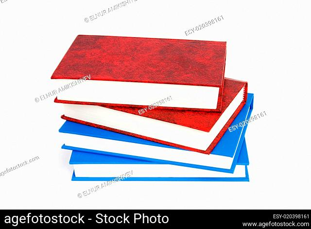 Stack of books isolated on the white background