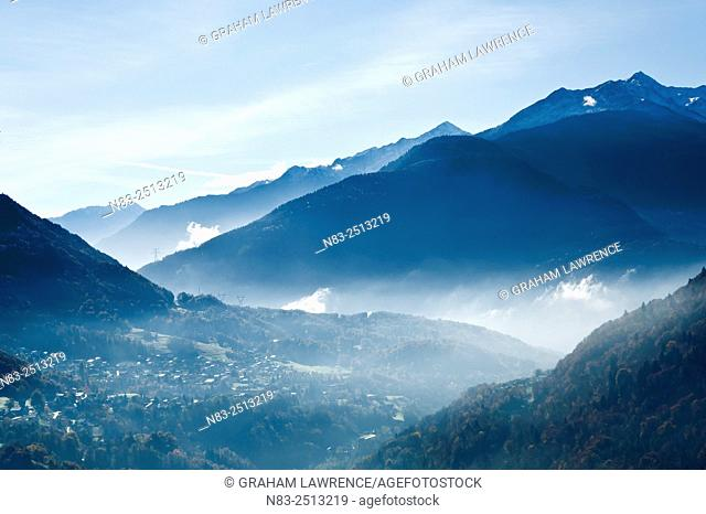 An autumn view towards the village of Venthon in the Val d'Arly region of the French Alps, Savoie, France