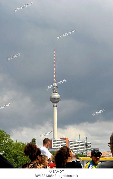 view from an excursion boat on the Spree to the television tower, Germany, Berlin