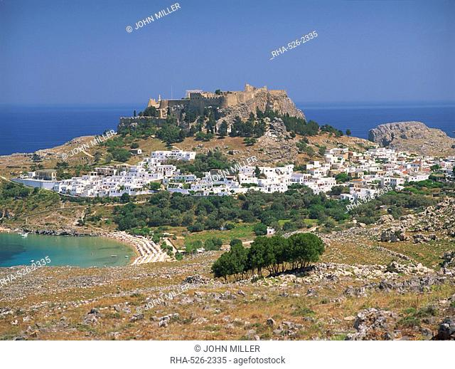 The town and acropolis of Lindos Town, Rhodes, Dodecanese Islands, Greek Islands, Greece, Europe