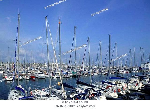 Barcelona city sport port Mediterranean sea
