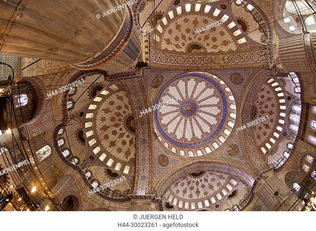 Interior of Blue Mosque,Ceiling, Istanbul, Turkey Moschee
