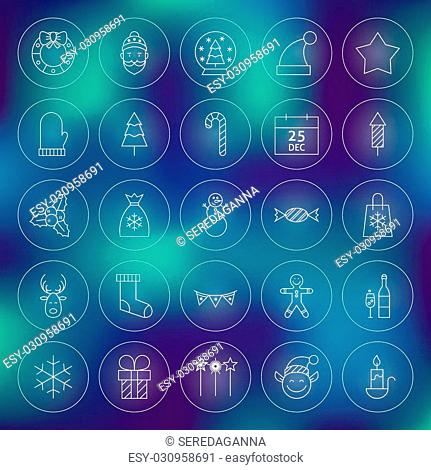 Thin Outline Christmas New Year Circle Line Icons Set. Vector Collection of Winter Holiday Modern Thin Line Circle Icons for Web and Mobile over Blurred...
