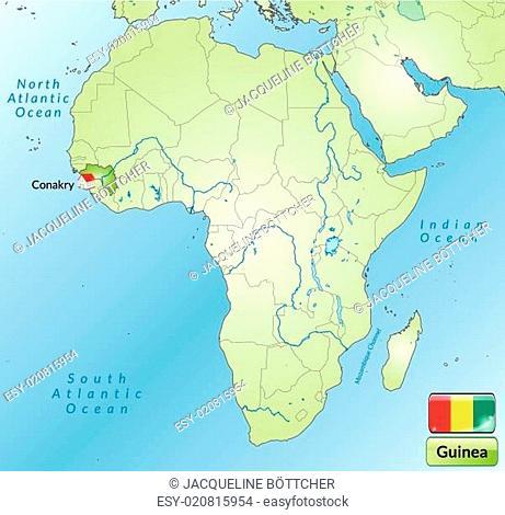 Umgebungskarte von Guinea mit Hauptstädten in internetgrün