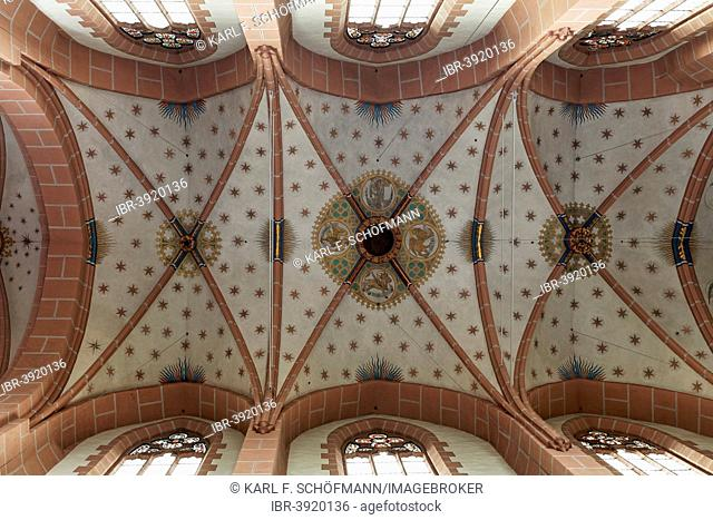 Gothic ribbed vaults with paintings, Church of Our Lady, Oberwesel, Rhineland-Palatinate, Germany