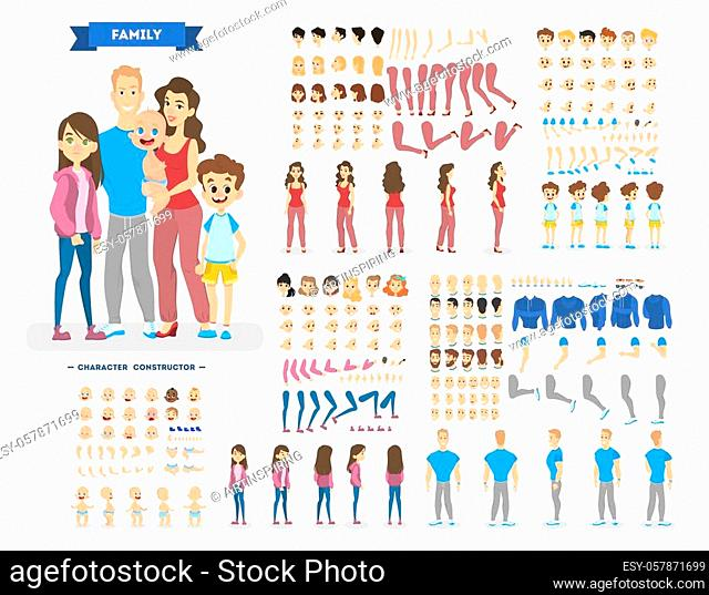 Big family character set for the animation with various views, hairstyle, emotion, pose and gesture. Mother, father and children