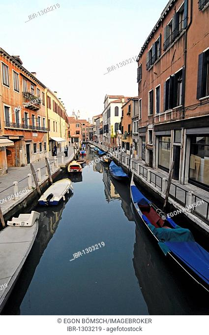 Canal with houses in the Zattere area, Venice, Veneto, Italy, Europe