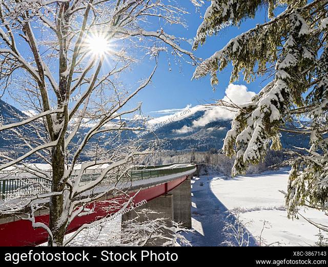 The Faller-Klamm Bridge. Frozen Sylvenstein Reservoir near Bad Toelz in the Isar valley of Karwendel Mountain Range during winter