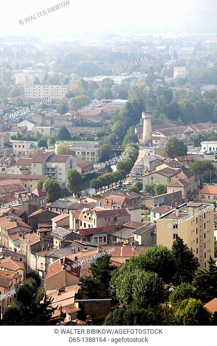 France, Puy-de-Dome Department, Auvergne Region, Thiers, cutlery capital of France, lower town view from Terrasse du Rempart